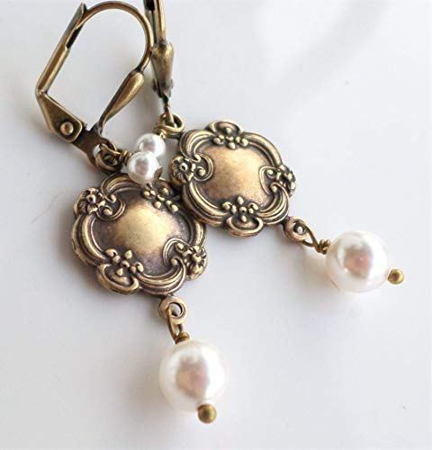 Victorian Art Nouveau Style Antique Brass White Swarovski Pearl Dangle Earrings (Antique Pearl Earrings)
