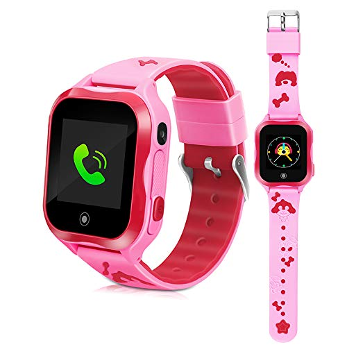 DUIWOIM Waterproof Watch Smart Watches for Kids Phone Watch Accurate GPS Tracker with SOS and Pedometer with Camera Game Watch Children Electronic Learning Toys Boys Girls Best Birthday Gift (Pink)