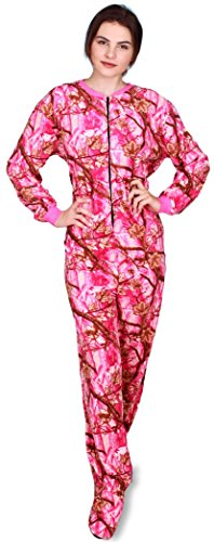Fun Apparel Womens Fun Prints Footies Footed One Piece Pajamas, Pink Forest Real, (Footed One Piece)