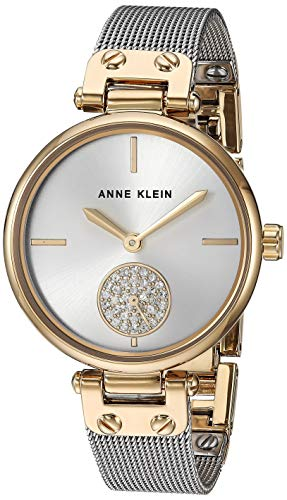Anne Klein Women's AK/3001SVTT Swarovski Crystal Accented Two-Tone Mesh Bracelet Watch