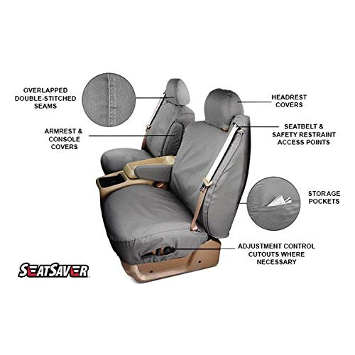 with Built-In Headrests Covercraft 1st Row Black Charcoal Front Seat Covers fits 94-01 Dodge Ram 1500 40//20//40 Split Bench Seat