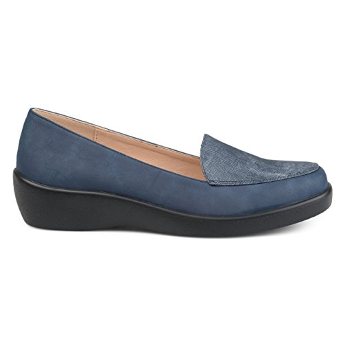 Brinley Co Womens Comfort Sole Faux Suede Square Toe Loafers Navy