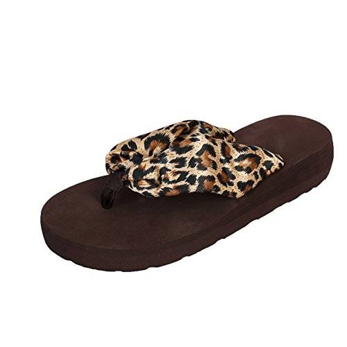 Ladies Leopard Flip Flop Thongs (Womens Girls Bohemian Satin Floral Wedge Sandals Beach Thongs Flip Flops Leopard EU38 - US Size 8)