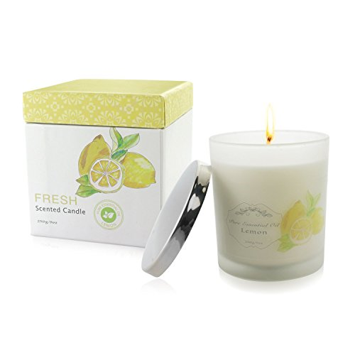 Clear and Fresh Natural Scented Candle with Organic Oil, Aromatheraphy Candle with Pure Essential Oil, Smokeless Candle, Huge Size Scented Candle (9oz/250g). (Lemon)