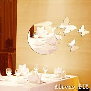 Amazon.com: funlife 40x50cm 3 Butterflies Round Mirror Design Wall ...