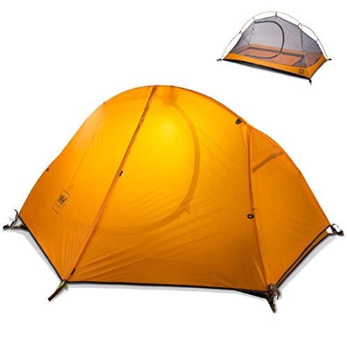 Azurec 1-2 Person 3 Season Lightweight Waterproof Double Layer Backpacking Tent with Footprint for Camping Hiking (Orange - 1 Person)
