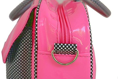 Hello Kitty Borsa con Tasche Fucsia - Borsa da giorno con inserti in tessuto a pois, tracolla removibile.