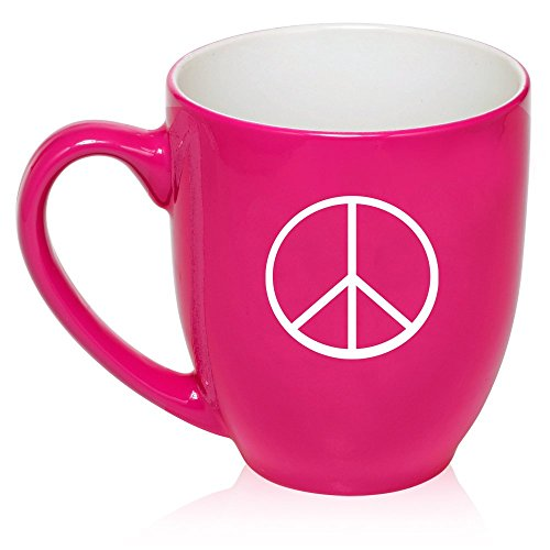 16 oz Large Bistro Mug Ceramic Coffee Tea Glass Cup Peace Sign (Hot -