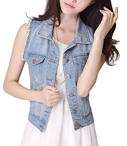 Elgante Jacken breal Printemps Confortable Jean Mode Outerwear Casual Court Jeans Poches BIRAN Femme Hellblau Manteaux Trendy avec Automne Revers Sleeveless Gilet Cwqxwvt