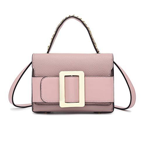 Lxf20 Sac à bandoulière pour femme - Sac à bandoulière à la mode - Sac fourre-tout en PU - Petit sac carré Pink
