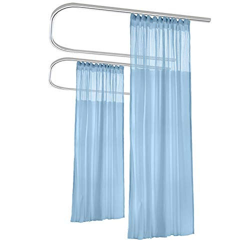 Macochico Blue Medical Curtains Privacy Hospital Cubicle Curtain with Flat Hook Hanging for Hospital Medical Clinic SPA Lab Curtain Room Divider,8ft Wide x 7ft Tall(1 Panel) (Divider System Room)