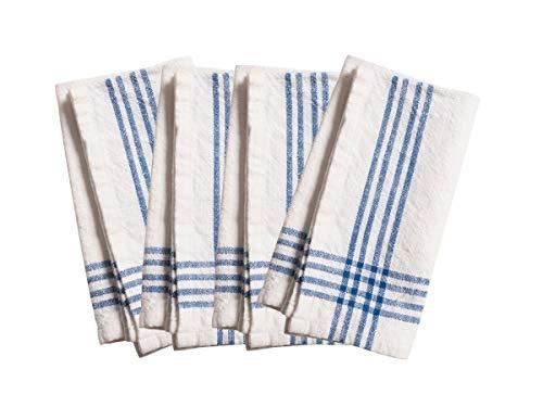 (KAF Home NP 37938-S4 Lyon, Set of 4 Napkins, 20 x 20, White w/Blue)