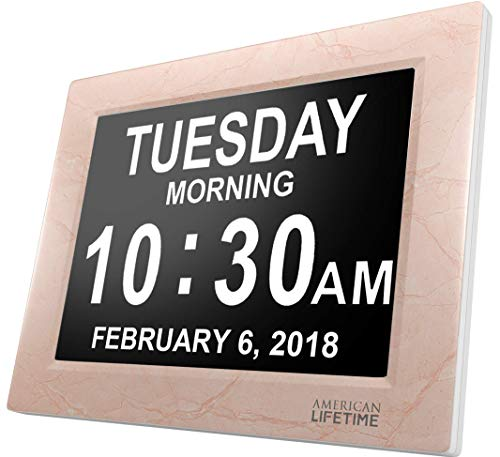 American Lifetime [Newest Version] Day Clock - Extra Large Impaired Vision Digital Clock with Battery Backup & 5 Alarm Options (Cream Marble Color) ()