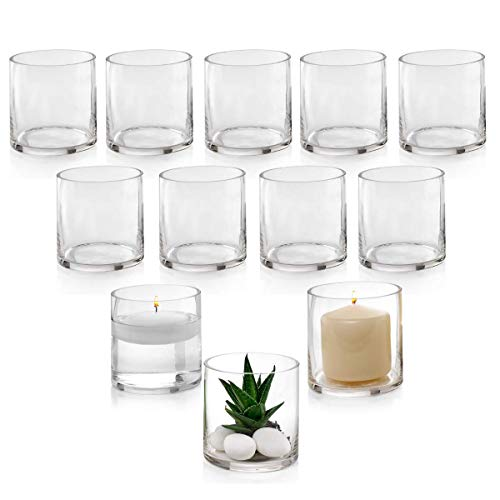 Set of 12 Glass Cylinder Vases 4 Inch Tall - Multi-use: Pillar Candle, Floating Candles Holders or Flower Vase - Perfect as a Wedding Centerpieces. (Floating Glass Vase)
