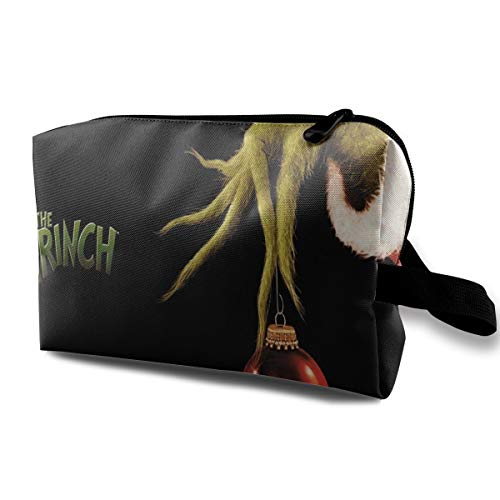 MyLoire Portable Travel Cosmetic Makeup Bag - The Grinch Stole Christmas Storage Bag Organizers With Zipper -