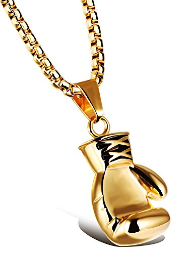 Hamoery Men Women Punk Stainless Steel Golden Boxing Glove Chain Pendant Necklace(Golden(Men))