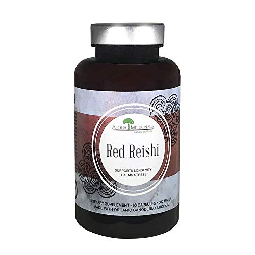 Aloha Medicinals - Pure Red Reishi - Certified Organic Mushrooms - Ganoderma Lucidum - Health Supplement - Supports Cardiovascular, Immune System and Liver Function - 500mg - 90 Vegetarian Capsules