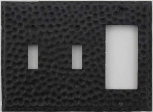 Classic Accents Hammered Matte Black Wall Plate - Three Gang Two Toggle Switches One Gfi/Rocker Opening