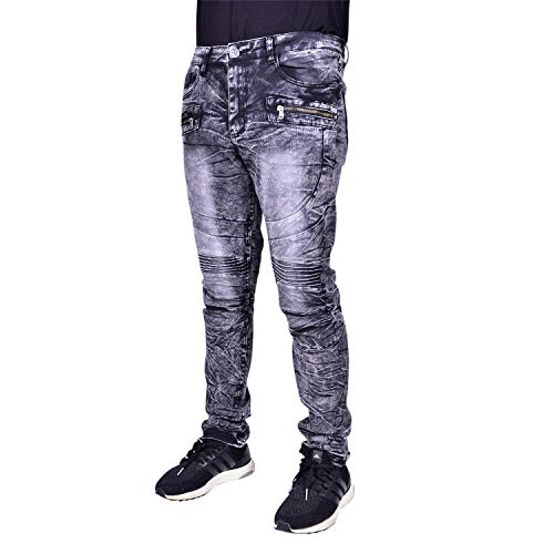Waimea Mens Slim Fit Premium Fashion Skinny Stretch Denim Jeans Black Acid Wash 30