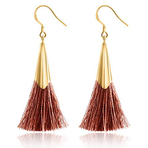 Tassel French - Tassel Earrings Dangle Drop 925 Silver French Hook Jewelry for Women's (Brown)
