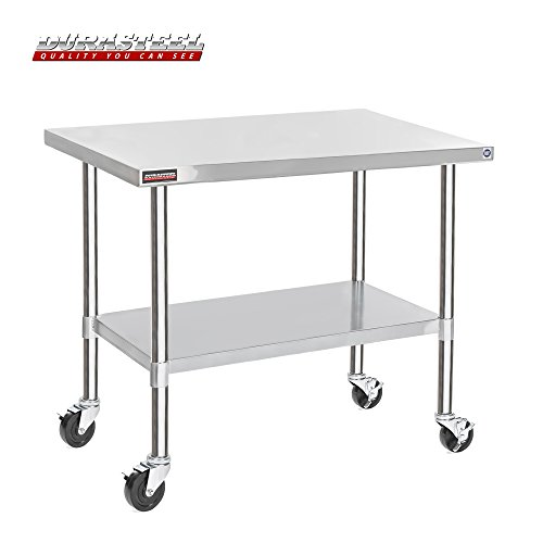 "DuraSteel Stainless Steel Work Table 30"" x 60"" x 34"" Height w/ 4 Caster Wheels -  Food Prep Commercial Grade Worktable - NSF Certified - Good For Restaurant, Business, Warehouse, Home, Kitchen, Garage from DuraSteel"
