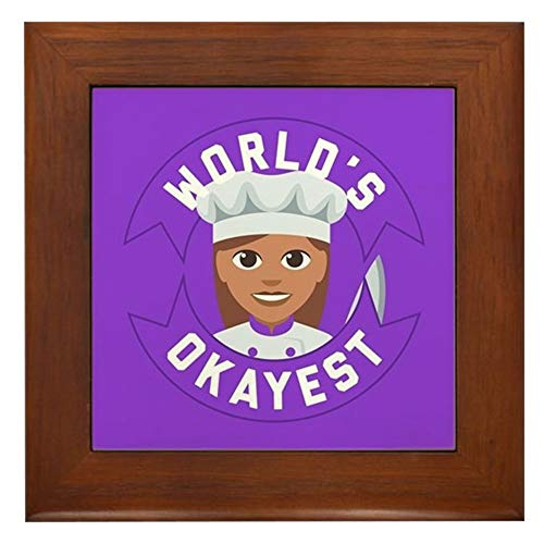 CafePress World's Okayest Chef Framed Tile, Decorative Tile Wall Hanging