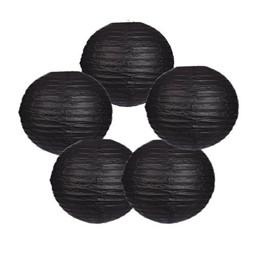 - Zilue Round Paper Lanterns Decoration Wedding Party Birthday Accessories Pack of 5 Black 12