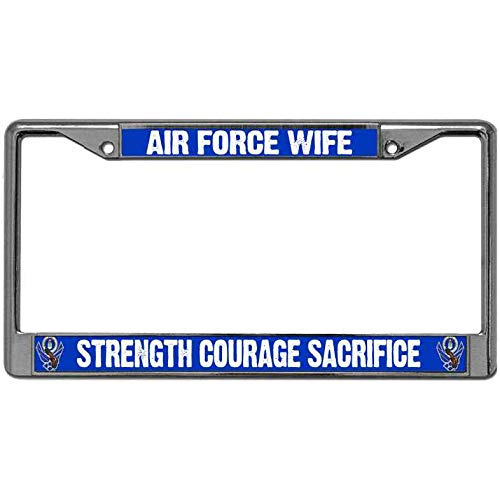 Kingchoo USAF Airman Pride Auto License Plate Cover,Magnesium Alloy License Plate Frame Free Screw Caps,Air Force Wife License Plate Metal Cover Applicable to US Standard
