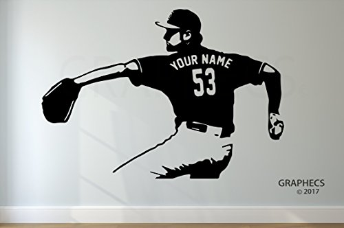 Baseball Jersey Wall Art - Personalized Custom Baseball Wall Decal - Choose your NAME & NUMBERS Custom Player Jerseys Vinyl Decal Sticker Decor Kids Bedroom