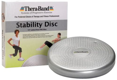 TheraBand Stability Disc for Balance Training, Inflatable Balance Trainer, Round Core Cushion for Office Chair, Round Sport Stability Trainer, Physical Therapy Equipment to Improve Posture, Silver