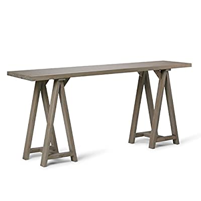 Simpli Home Sawhorse Coffee Table, Dark Chestnut Brown