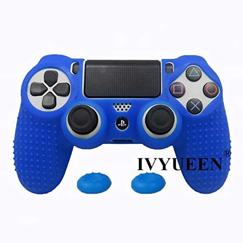 - 2PCs Silicone Rubber Cover Skin Case Playstation 4 PS4 Pro Slim Controller Gamepad Cover with 2 Caps Grips Dark Blue PS4 Controller Covers - Silicone Skin, Silicone Cover A877