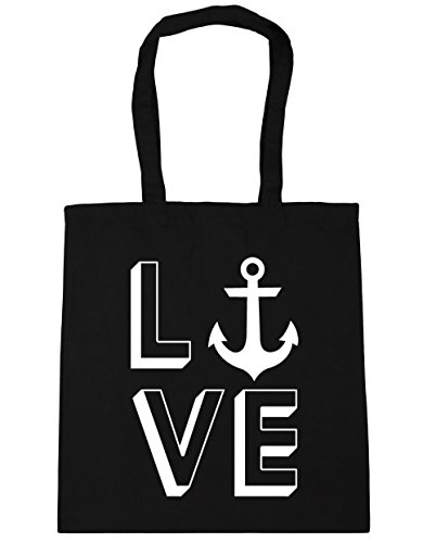 Tote 10 x38cm Anchor HippoWarehouse Bag 42cm Shopping Gym litres Beach Love Black zzq8TwEn