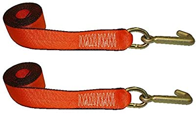 """Ships in 1 to 2 Business Days! Qty. 2, BA Products V38-5J-x2, 2"""" Wide X 8' Long Tie Down Strap w/ Mini J Hook for Wrecker, Tow Truck, Rollback, Car Hauler"""