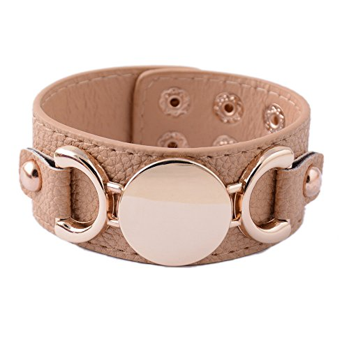 Rainbery PU Leather Cuff Bracelet for Monogram (Camel Gold) Leather Cuff Bracelet