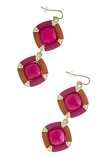 TRENDY FASHION JEWELRY RECTANGLE TWO TONE LINK EARRINGS BY FASHION DESTINATION | (Hot Pink) (Tone Earrings Diamonds Hot Two)