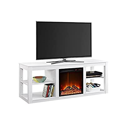 """Electric Fireplace TV Stand - Modern Entertainment Center With Heater - Media Storage Shelves - TV stand hold up to a 65"""" flat panel TV"""