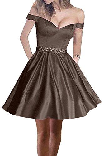 Kurzes Marie Abschlussballkleider V La Braut A Ballkleider Braun Linie Rock Cocktailkleider Ausschnitt Abendkleider Schulterfrei TqBzwBdxA
