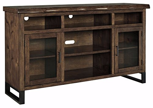 Signature Design by Ashley W815-48 TV Stand with Open Media Storage, Walnut - Glass Fireplace Screen Cottage