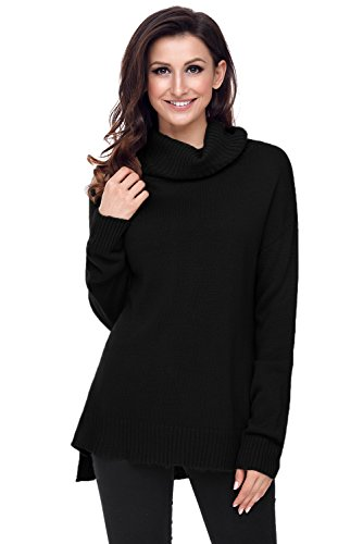 Bdcoco Women's Soft Long Sleeve Soft Knit Ribbed Hem Casual Pullover (Ribbed Pullover Sweater)