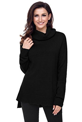 Col Haut Noir Size Knit BaronHong Pull Causal Lache Plus Eqx4nwAUa