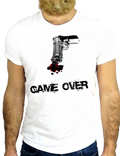 T SHIRT Z0396 GAME OVER COOL NICE GUN VINTAGE FUN GANGSTER MAFIA SCARFACE GGG24 BIANCA - WHITE L