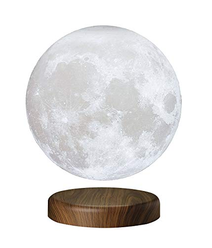 "7.1""/18cm LEVILUNA Magnetic Levitating Moon Lamp, Unibody Seamless 3D Printing, PLA Material, Floating LED Decorative Table Lamp"