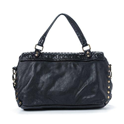 Donna nero Vintage Bag Modello Texas a Mano da Made Borsa Vera Donna Borsa Pelle Ira Spalla del in con Ragazza In Tracolla Grande Intrecciata Valle Italy e 6x8Tt7F