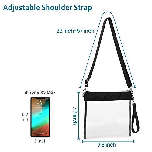 Packism Clear Purse, Clear Bag Stadium Approved NFL, BTS Concert, NCAA, Colorful Zipper Clear Cross Body Bag Transparent Purse Handbag for Women, Black