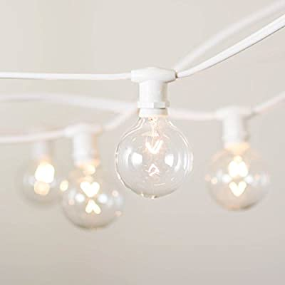Commercial Globe String Lights, 50 Feet E12 White Wire, 2 Inch G40 Bulbs, Heavy Duty, Patio, Tent, Landscape, Wedding, Bulbs, Restaurant, Bistro, Outdoor, (White Wire), (Warm White)