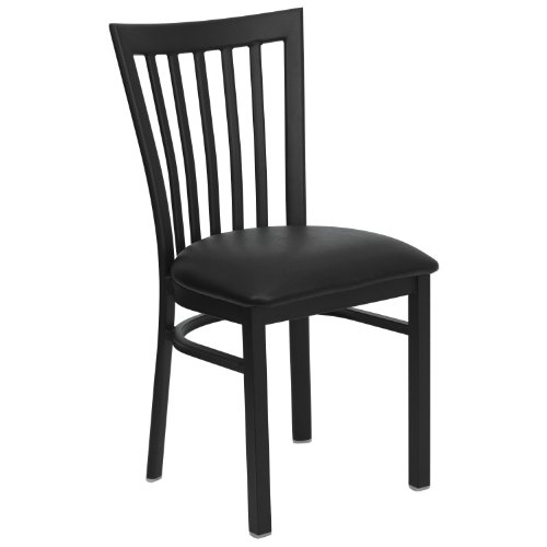 Chairs Restaurant Schoolhouse (MFO Black School House Back Metal Restaurant Chair - Black Vinyl Seat)