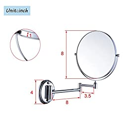 Cavoli 8 inches Double-sided Wall Makeup Mount Mirror with 5x Magnification,Chrome Finish(8 inch,5x)