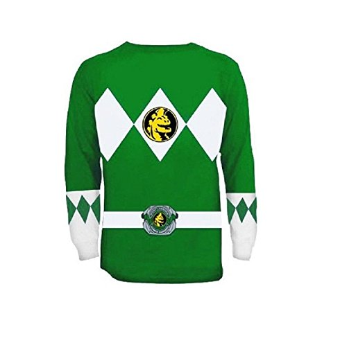(Green Power Rangers Long Sleeve Costume Shirt -)