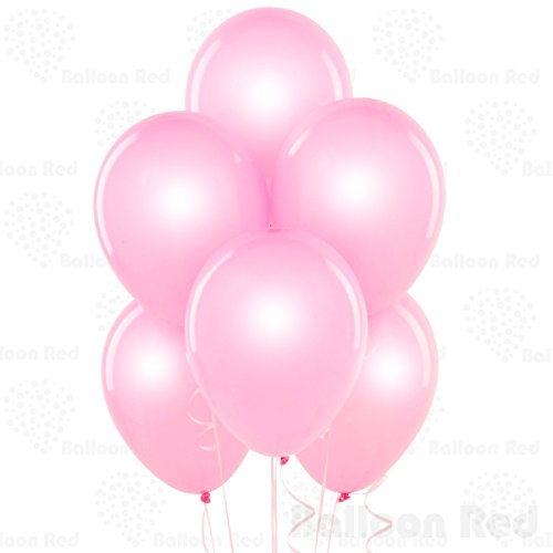 10 Inch Pearlized Latex Balloons (Premium Helium Quality), Pack of 100, Pearl Baby Pink